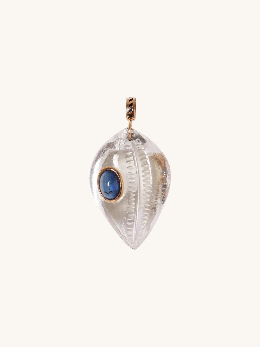 Quartz Cowrie Shell Charm with Kyanite