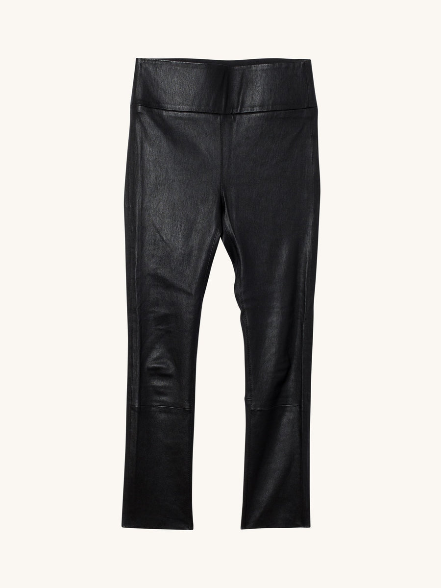 Black 3/4 Capri Leather Legging