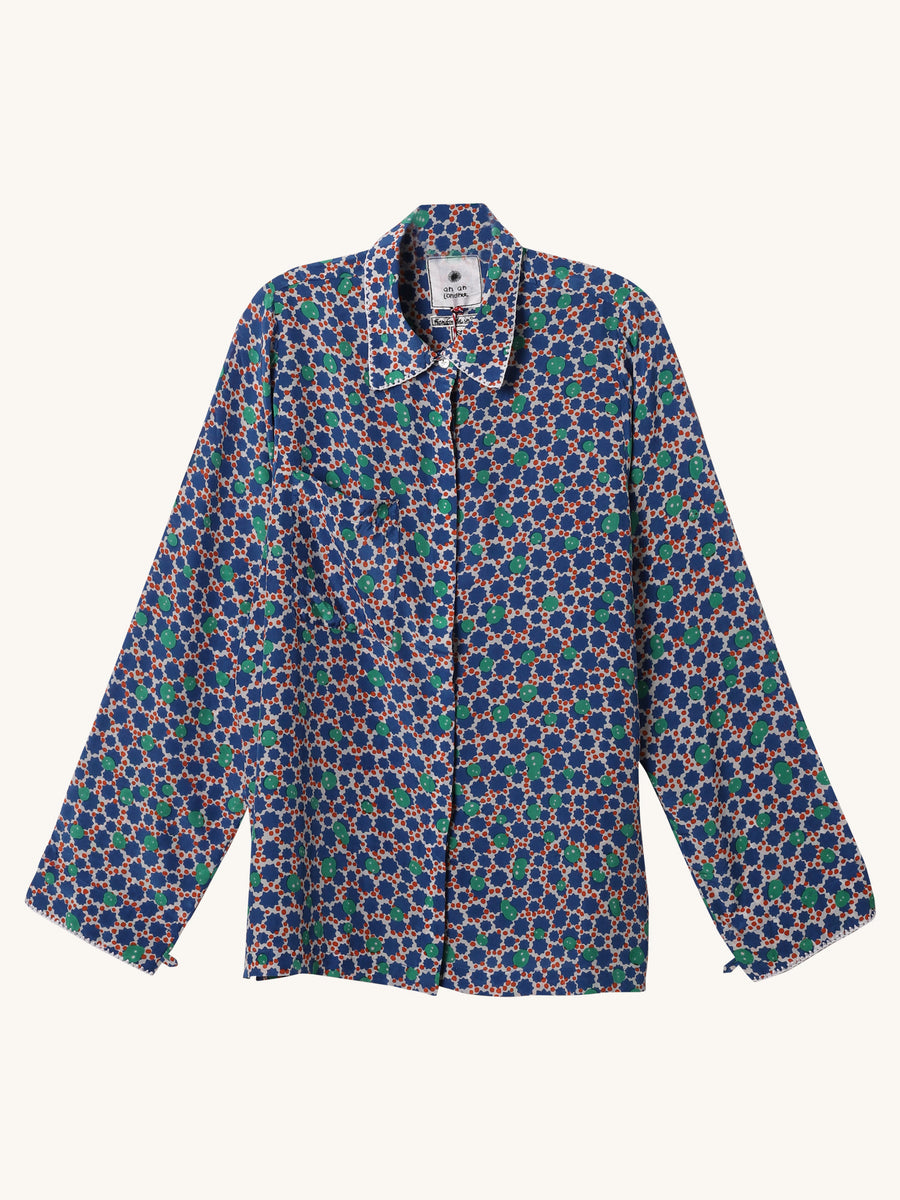 Pocket Blouse in Dark Blue Floral Print