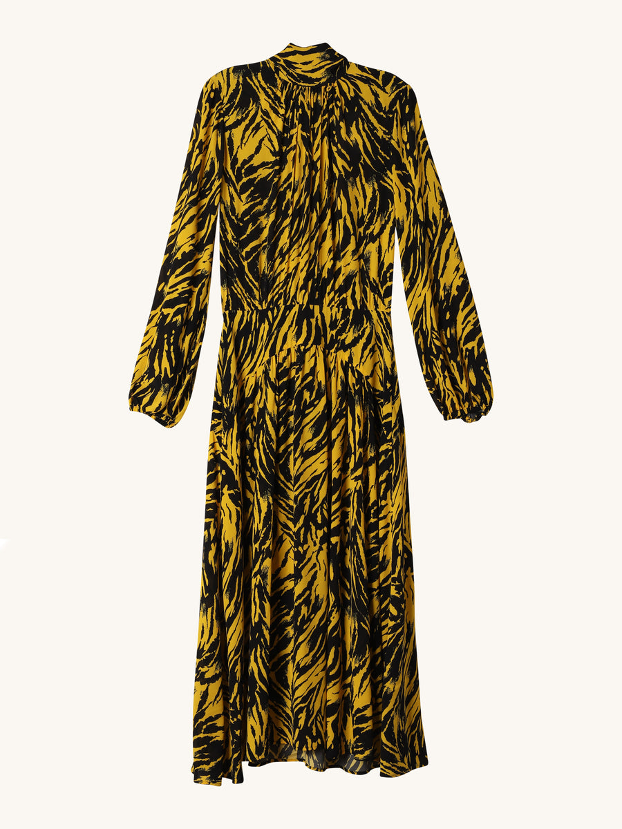 Long Sleeve Dress in Yellow & Black