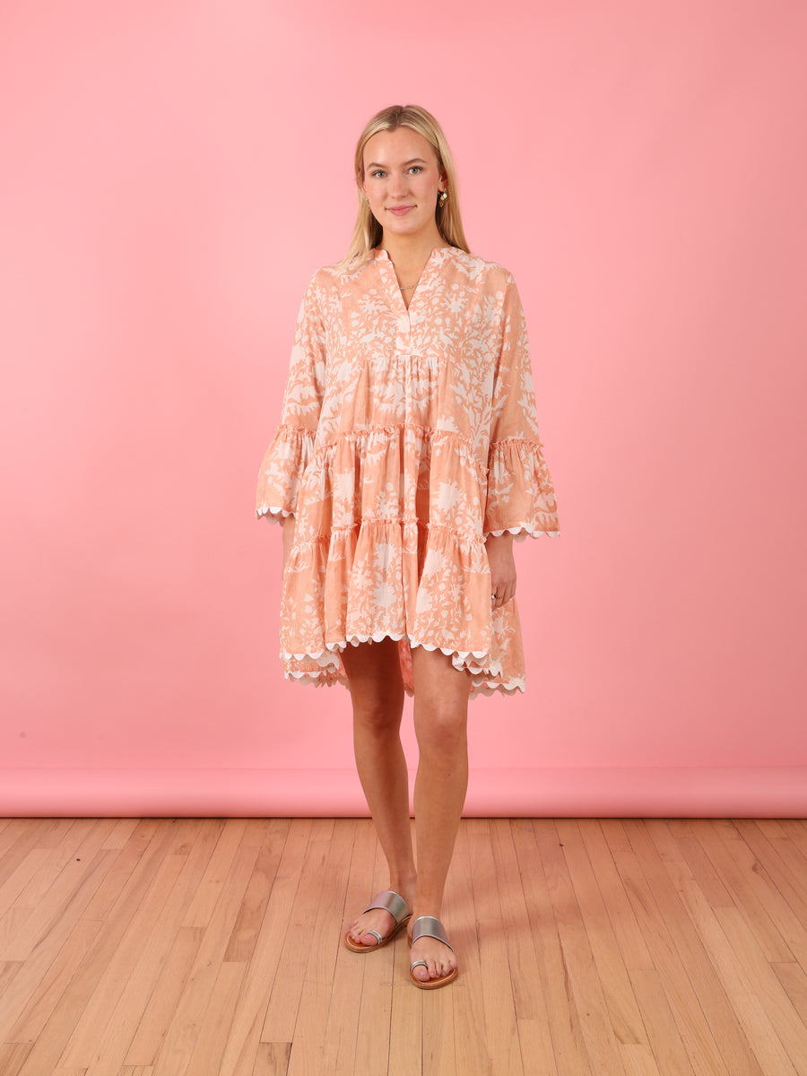 Palladio Flare Sleeve Dress in Peach