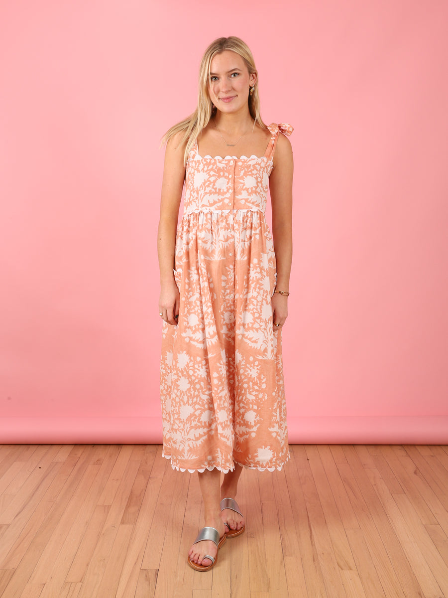 Tie Shoulder Dress in Peach