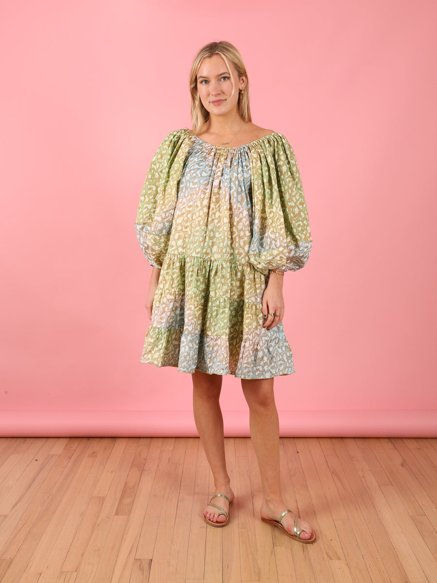 Snow Leopard Layer Dress in Green