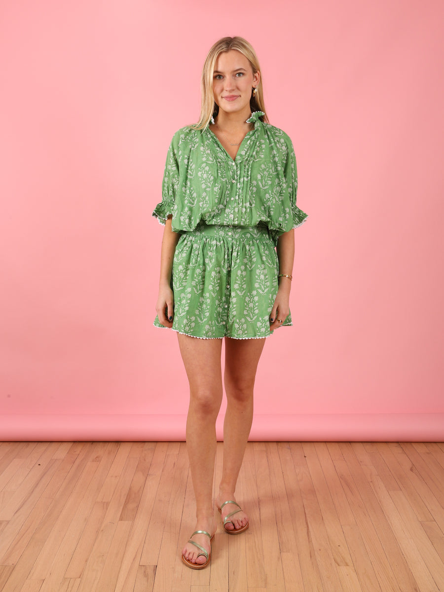 Block Blouson Dress in Green