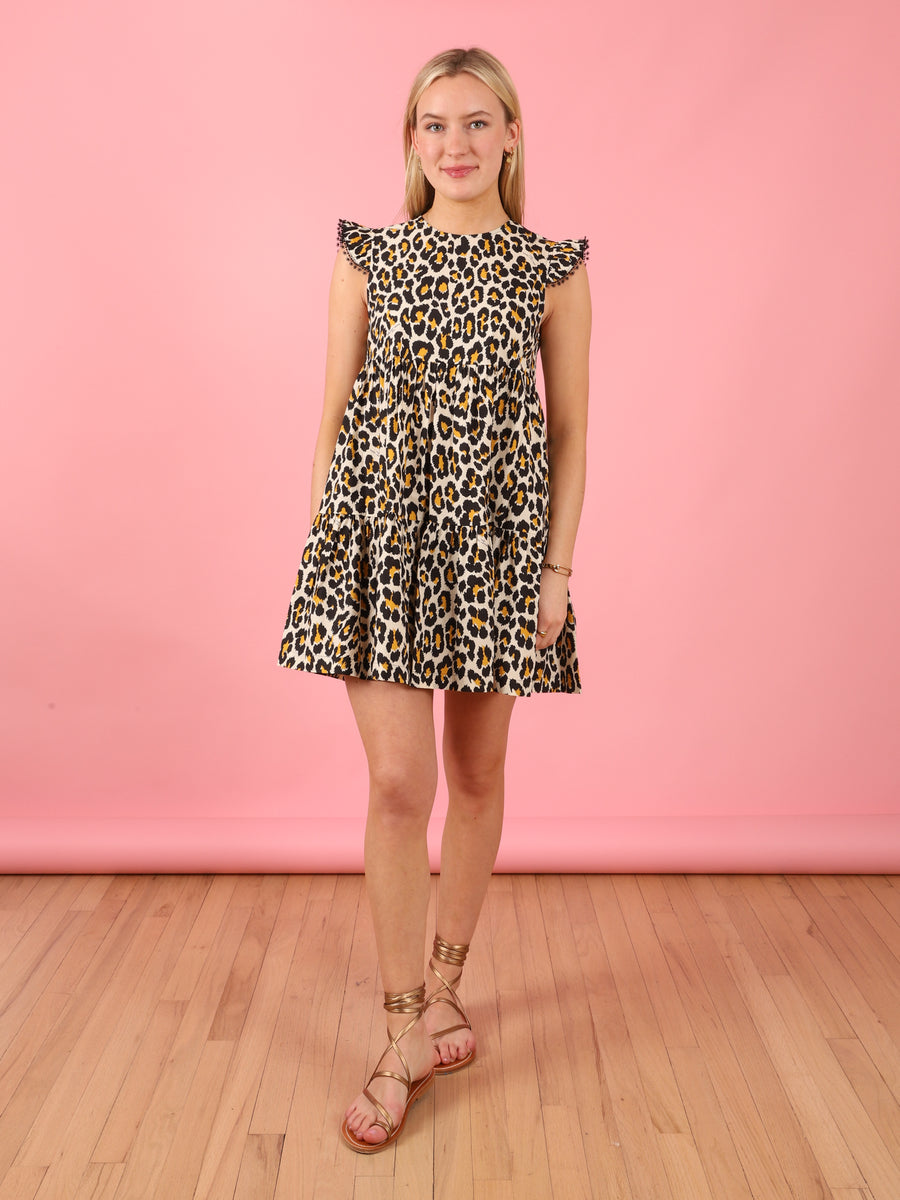 Leopard Print Cotton Tent Dress