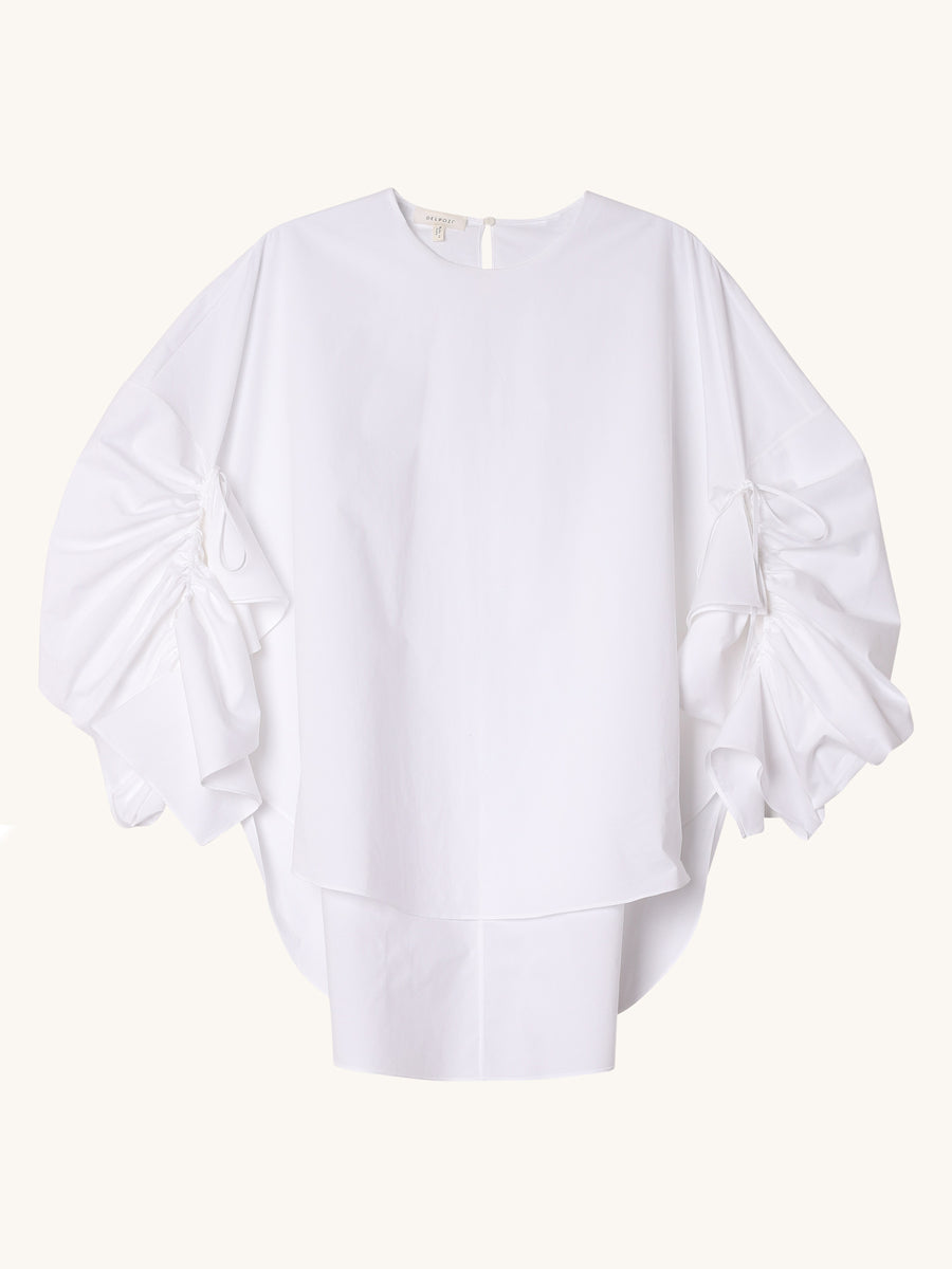 Gathered Sleeve Shirt in White
