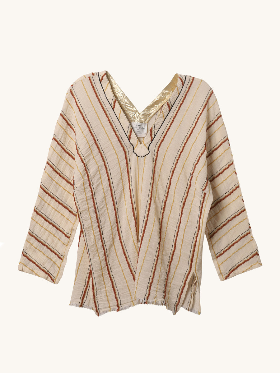 Orange Stripe Gauze Shirt