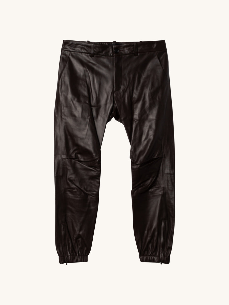 Cropped French Military Lambskin Leather Pant