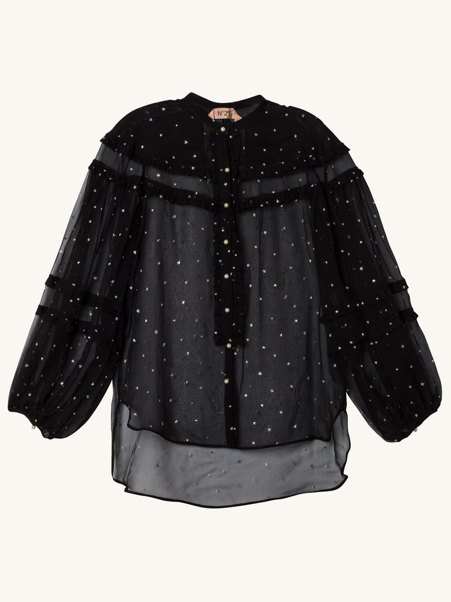 Sheer Blouse with Silver Stars