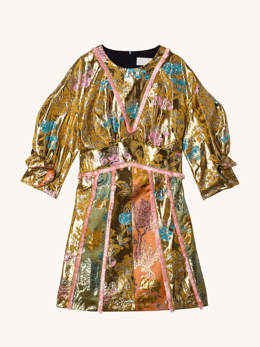 Metallic Jacquard Mini Dress in Gold