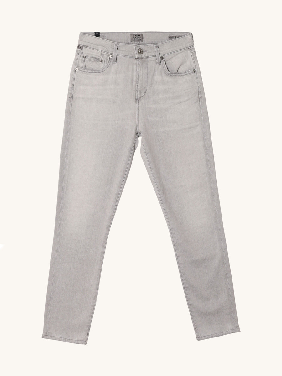 Rocket Crop Mid Rise Skinny in Grey Marble