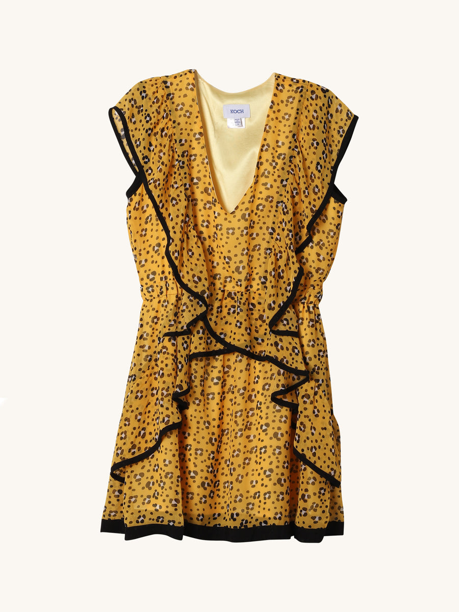 Leopard Kiki Dress in Yellow