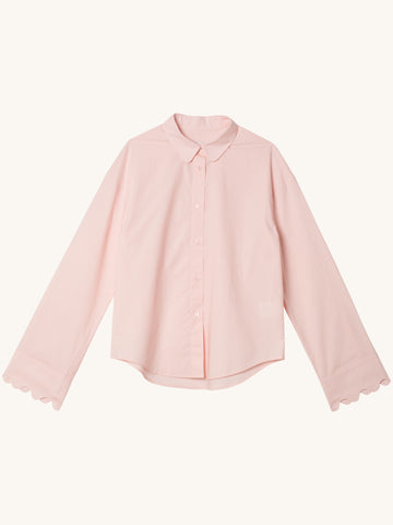Longsleeve Cotton Blouse in Pink