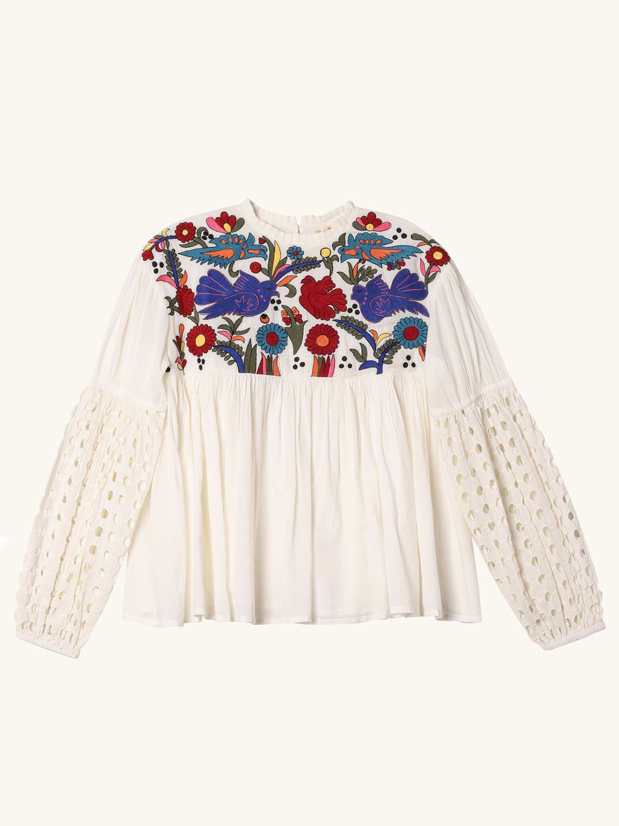 Embroidered Birds Tops in Cream