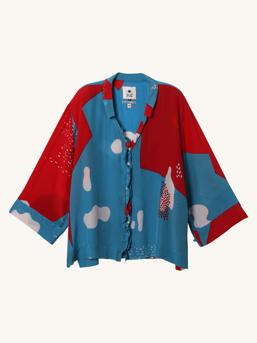 Long Ruffle Blouse in Blue & Red