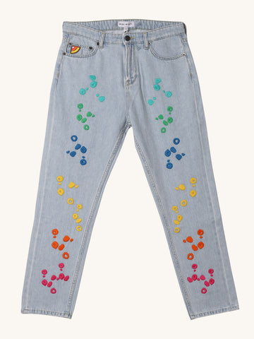 Embroidered Dot Jeans