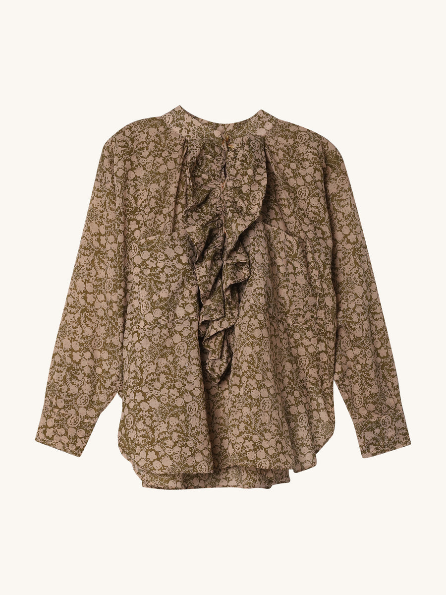 Frill Shirt in Khaki Floral