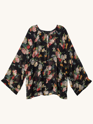 Acadia Silk Blouse in Black Floral