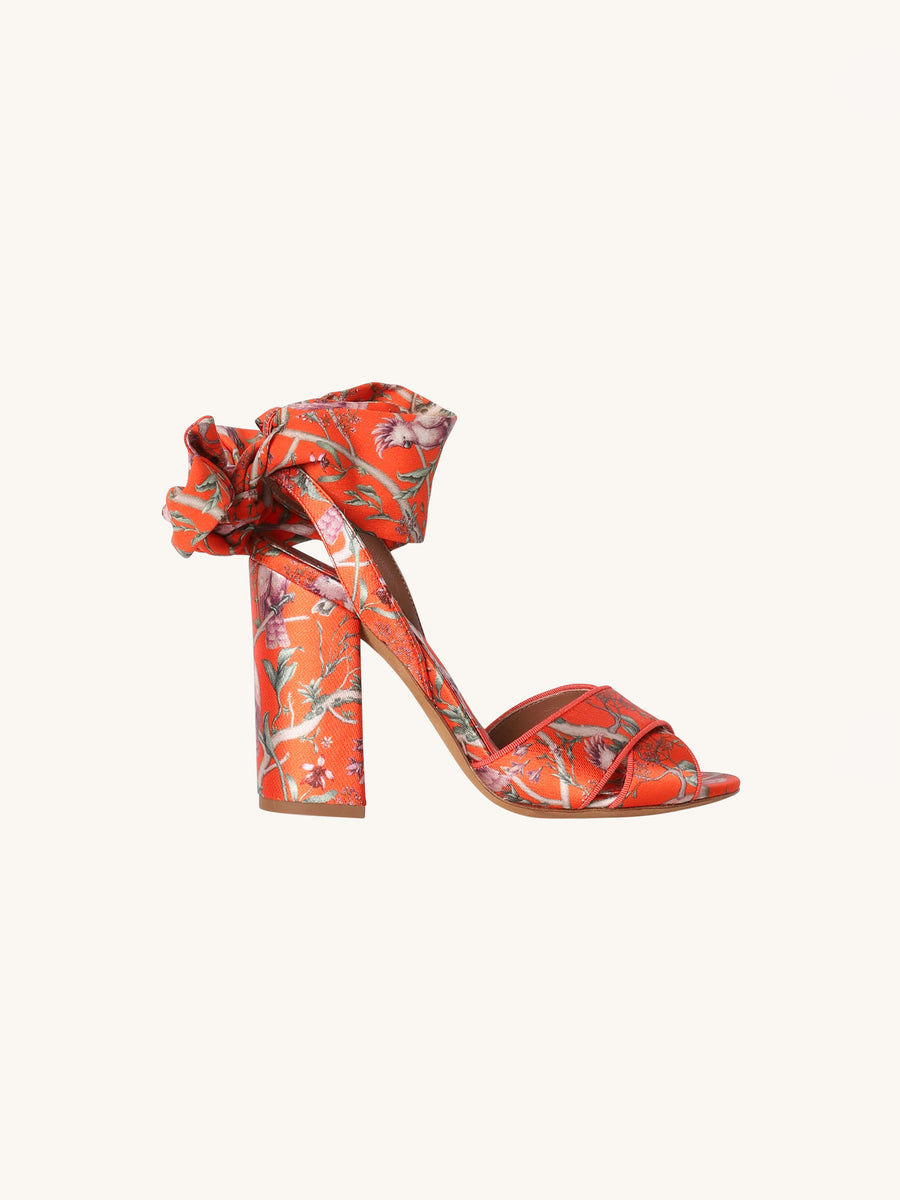 Connie Wrap Heel in Tangerine