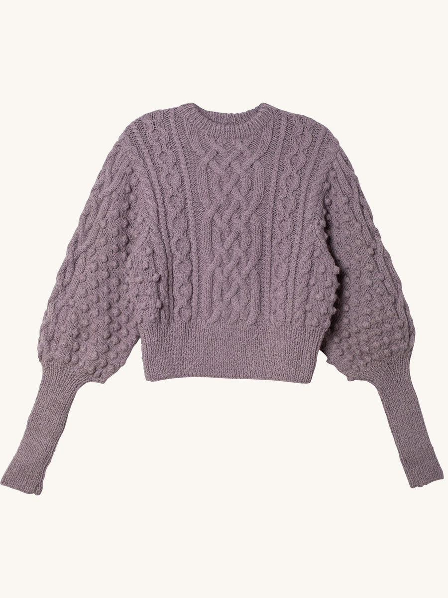 Lieve Handknit Cable Crew in Lavender