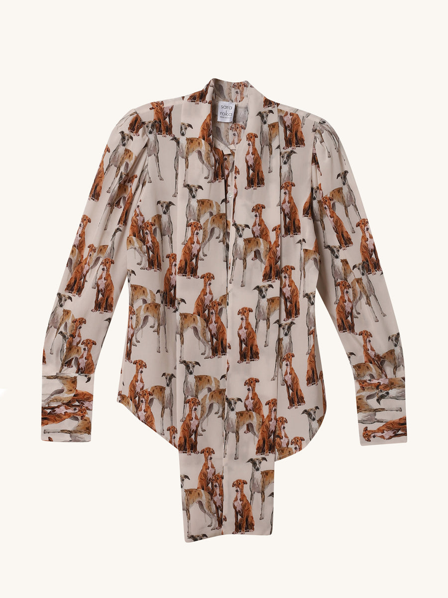 Printed Dogs Thie Blouse