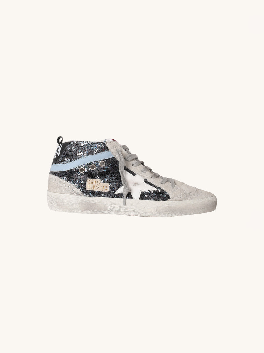 Mid Star Sneaker in Glitter & White