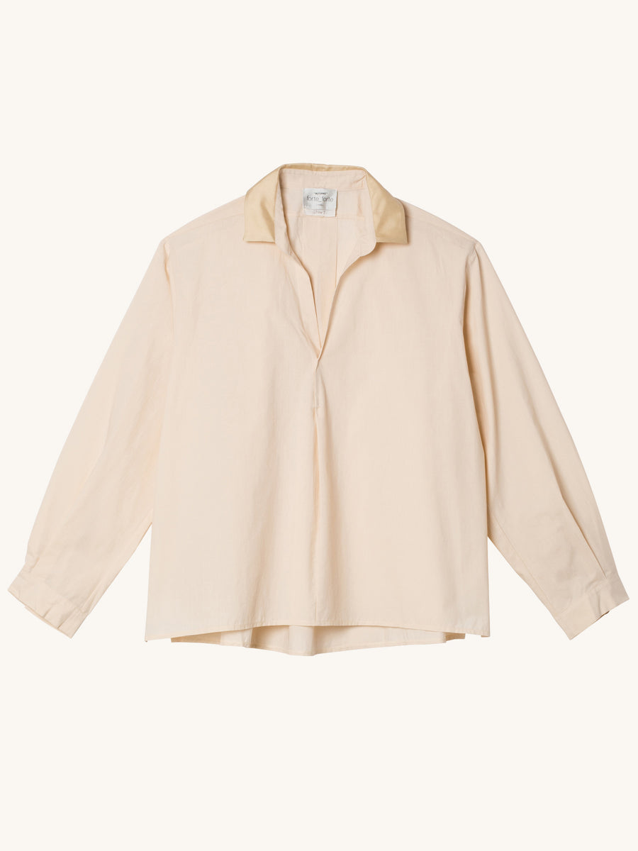 My Shirt with Satin Collar in Panna