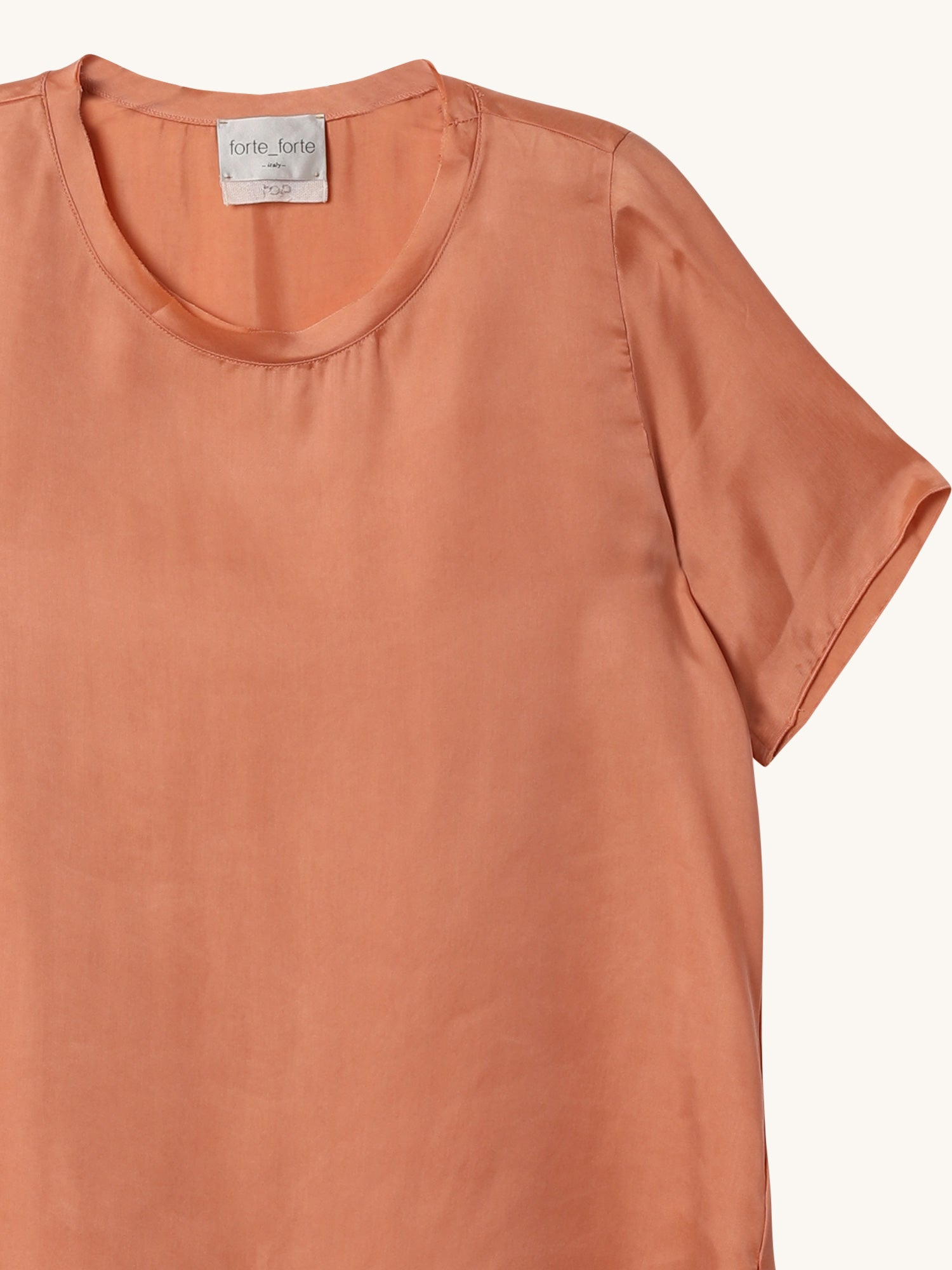 Chic Satin T-Shirt in Cameo