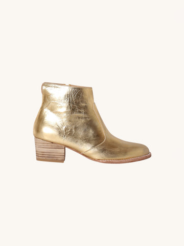 Jessie Distressed Gold Booties