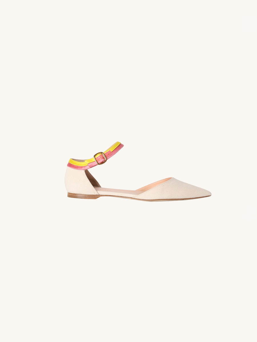 Oslo Canvas Ankle Strap Flat