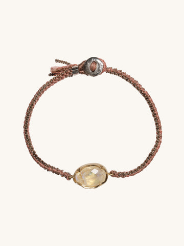 Orbit Rose Moonstone Silk Bracelet