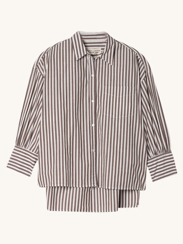 Lonnie Shirt in Brown & White Stripe