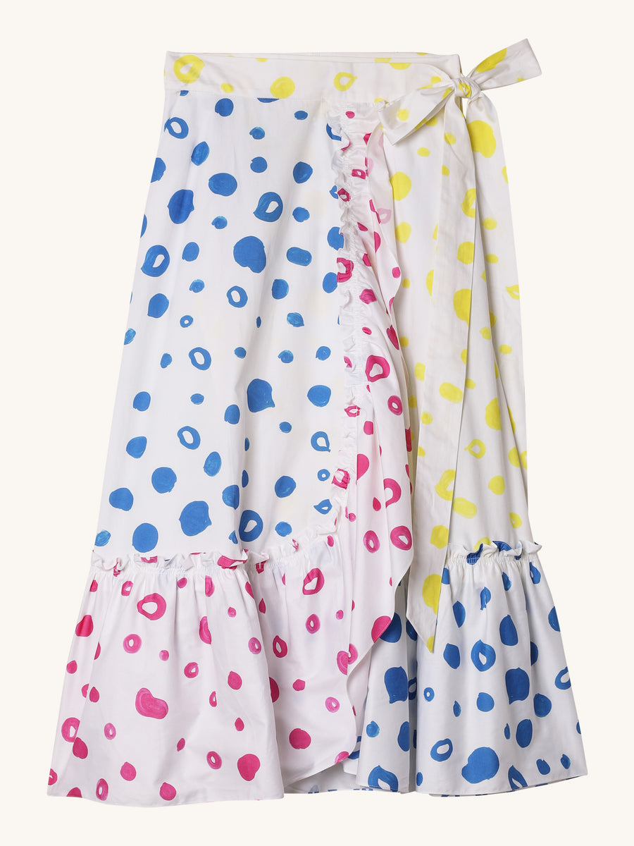 Multi Dot Wrap Skirt