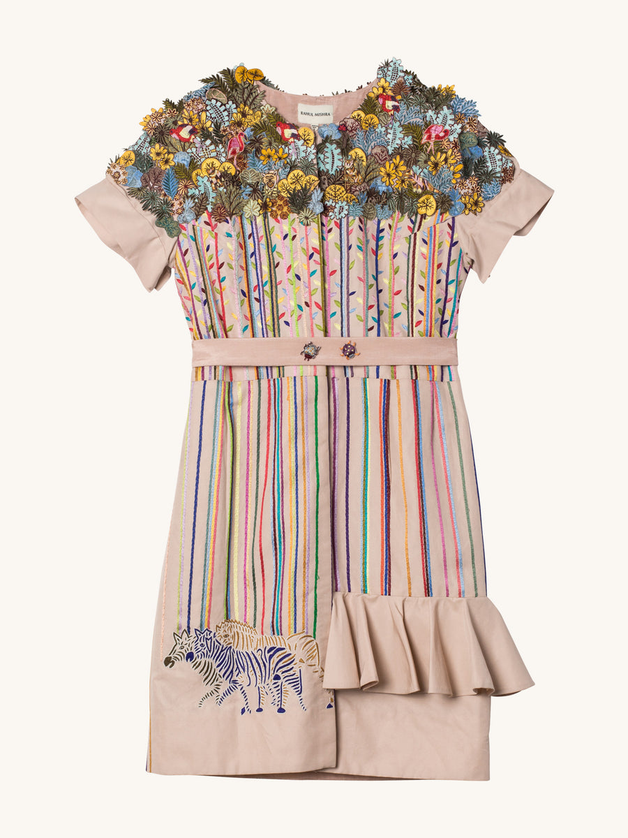 3D Wild Flower Glitch Dress in Peach