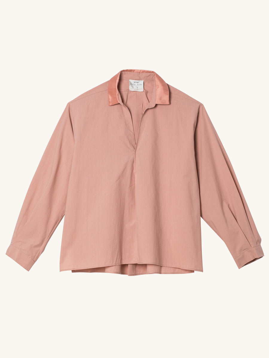 My Shirt with Satin Collar in Rosa