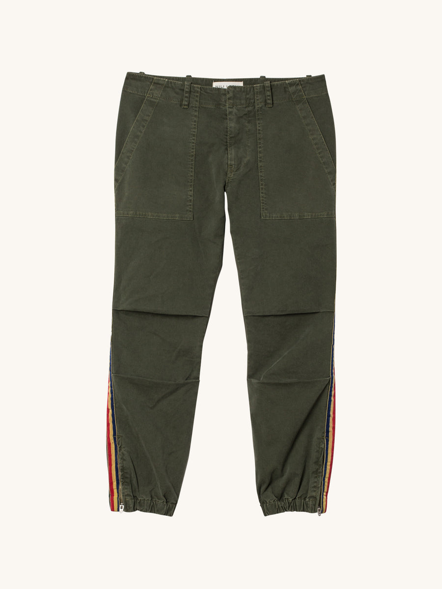 Cropped French Military Cotton Twill Pant with Grosgrain Tape