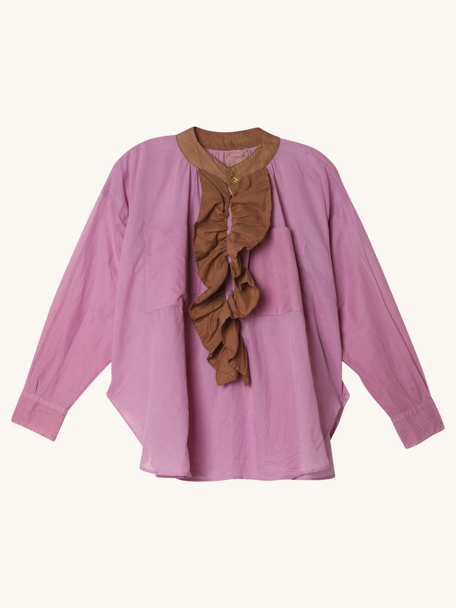 Frill Shirt in Rose & Caramel