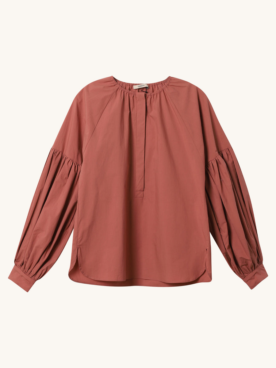 Terracotta Gathered Collar Blouse