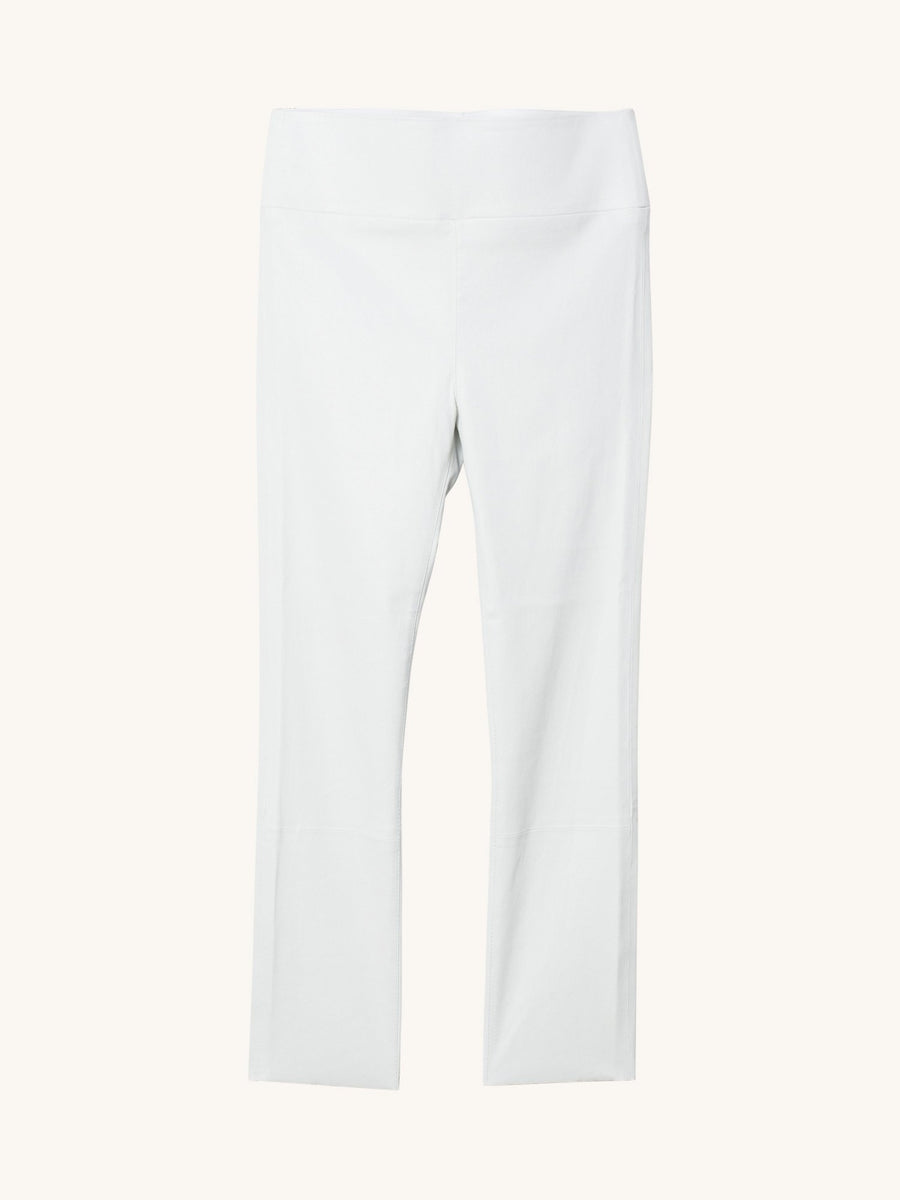 White 3/4 Capri Leather Legging