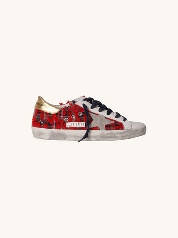 Superstar Sneaker in Red & Blue Check