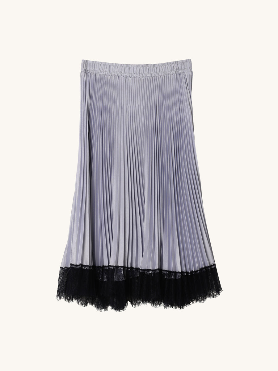 Lace Trim Pleat Skirt in Blue