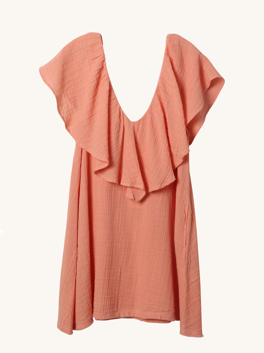 Brigitte Mini Dress in Coral
