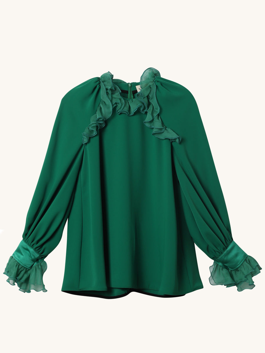 Green Long Sleeve Silk Crepe Kate Top