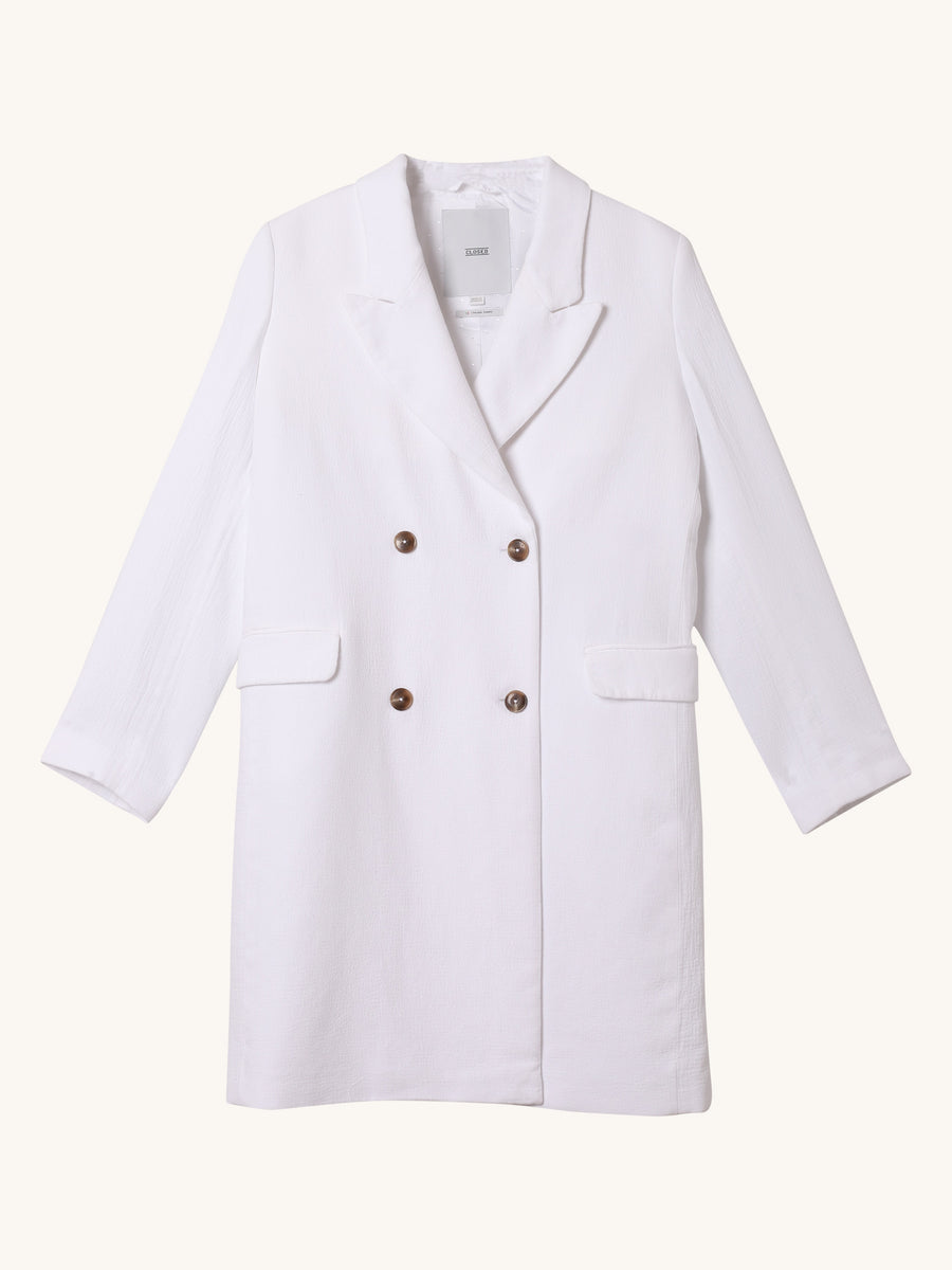 Cross Coat in White