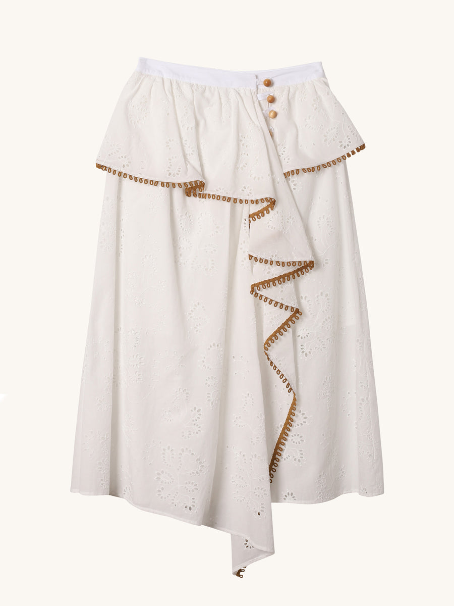 Midi Skirt in White Eyelet