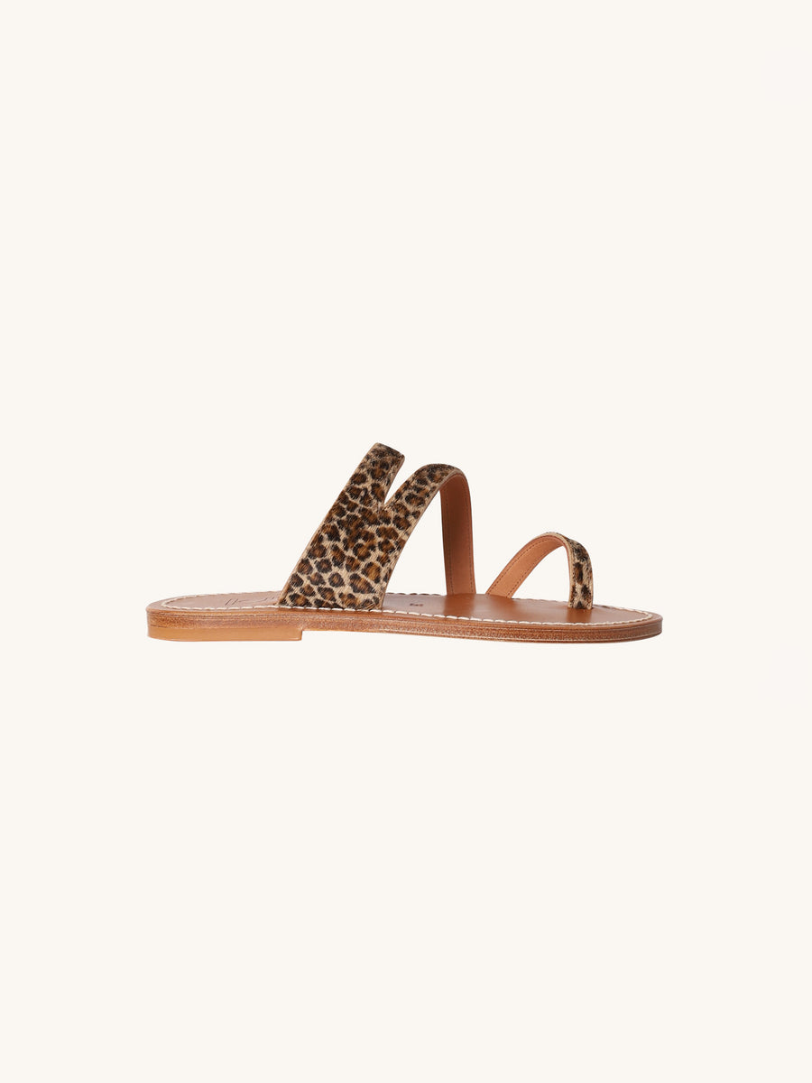 Leopard Pony Hair Mercator Sandal