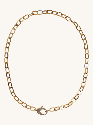 "24"" Brass Link Chain with Diamond Clasp"