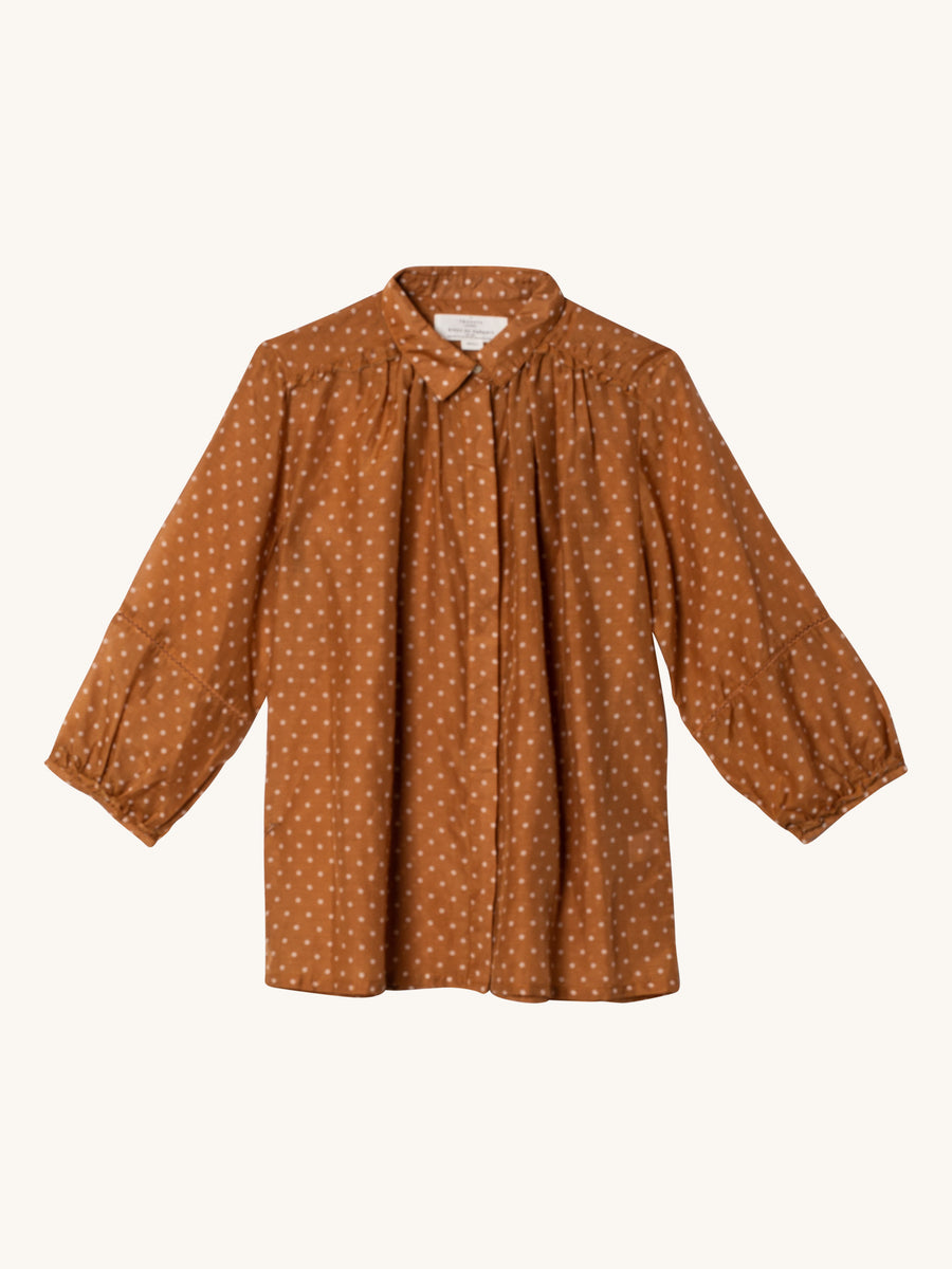 Nadia Blouse Tobacco Dot