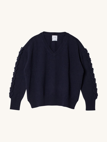 V-Neck Cashmere Pullover in Navy