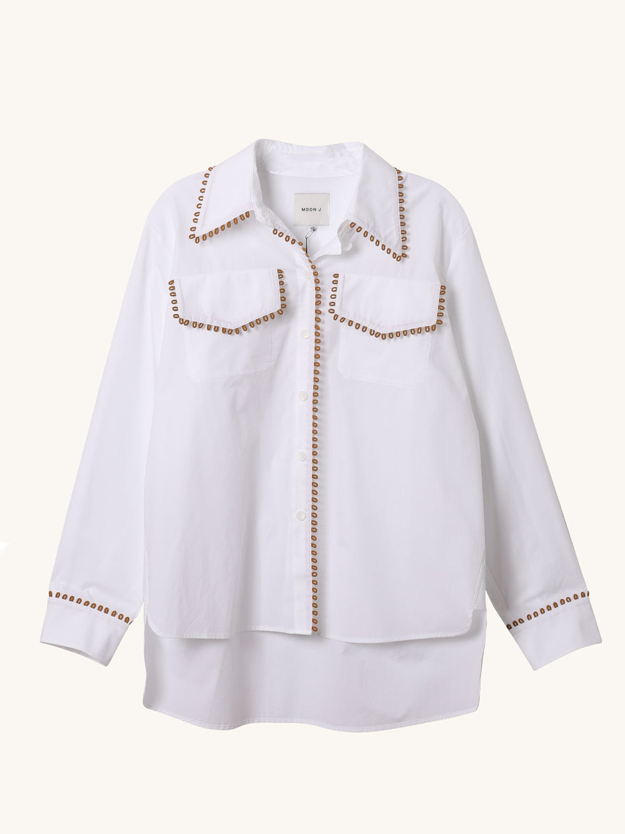 Loop Trim Shirt in White